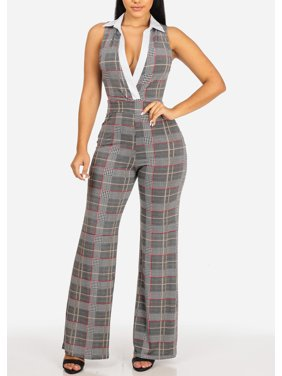 d2fe2a100f8 Product Image Womens Juniors Elegant Houndstooth Print Sleeveless Collar V  Neckline Wide Leg Jumpsuit 30753P