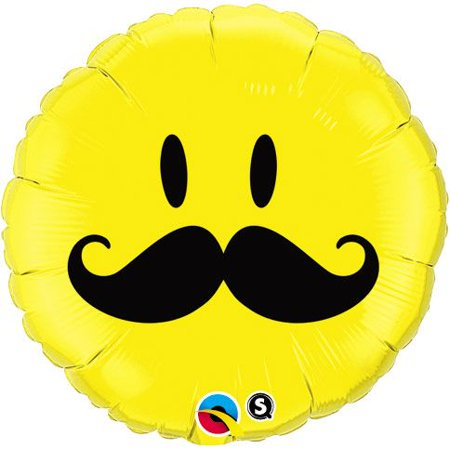 Smiley Face Foil Balloon - Mustache Smiley Face 18