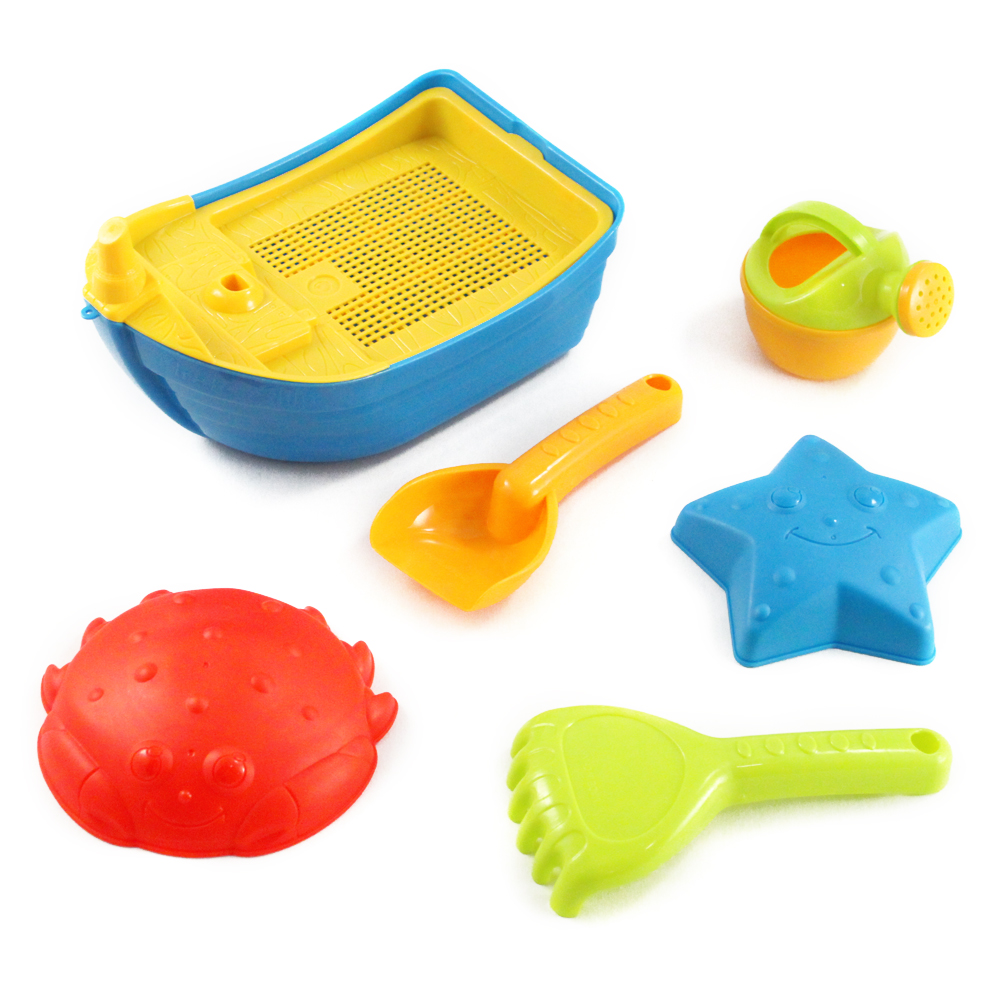 7pc Beach Time Children's Boat Sand Play Toy Set w  Sifter Shovel Rake & Molds by Universal