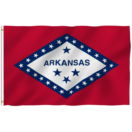 ANLEY [Fly Breeze] 3x5 Feet Arkansas State Flag - Vivid Color and UV Fade Resistant - Canvas Header and Brass Grommets - Arkansas AR Banner Flags Arkansas Ar State Flag