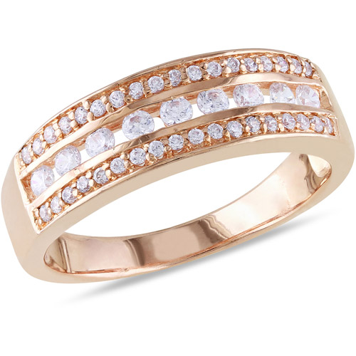 1.17 Carat T.G.W. CZ 18kt Rose Gold over Sterling Silver Semi-Eternity Ring