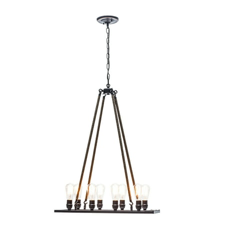 Globe Electric 8-Light Oil Rubbed Bronze Twine Wrapped Vintage Chandelier, (Bronze 7 Light Chandelier)