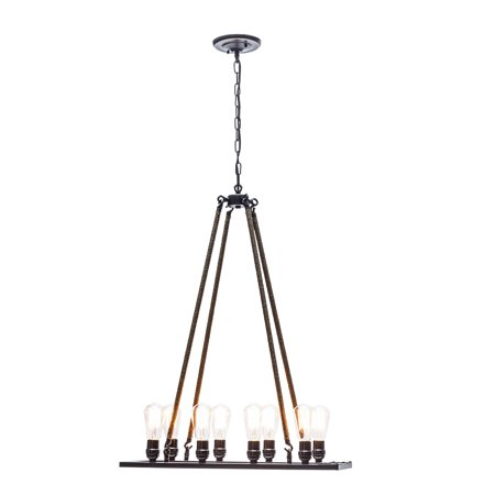 Rusticware Oil Rubbed Bronze - Globe Electric 8-Light Oil Rubbed Bronze Twine Wrapped Vintage Chandelier, 65038