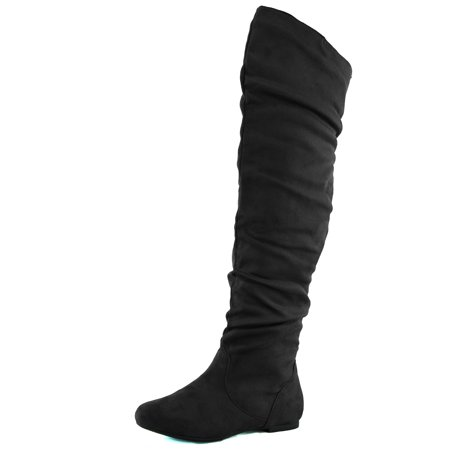 DailyShoes Women's Fashion-Hi Over-The-Knee Thigh High Flat Slouchly Shaft Low Heel Boots Black Suede, 6 B(M)