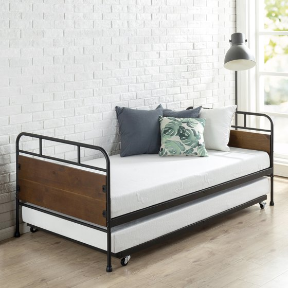 Zinus Santa Fe Metal Amp Wood Twin Daybed With Trundle