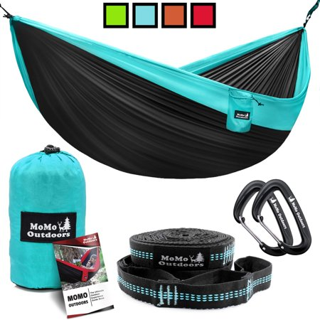 Lightweight Double Camping Hammock - Adjustable Tree Straps & Ultralight Carabiners Included - Two Person Best Portable Parachute Nylon Hammocks for Hiking, Backpacking, Travel & Backyard - Easy (Best Ultralight For The Money)