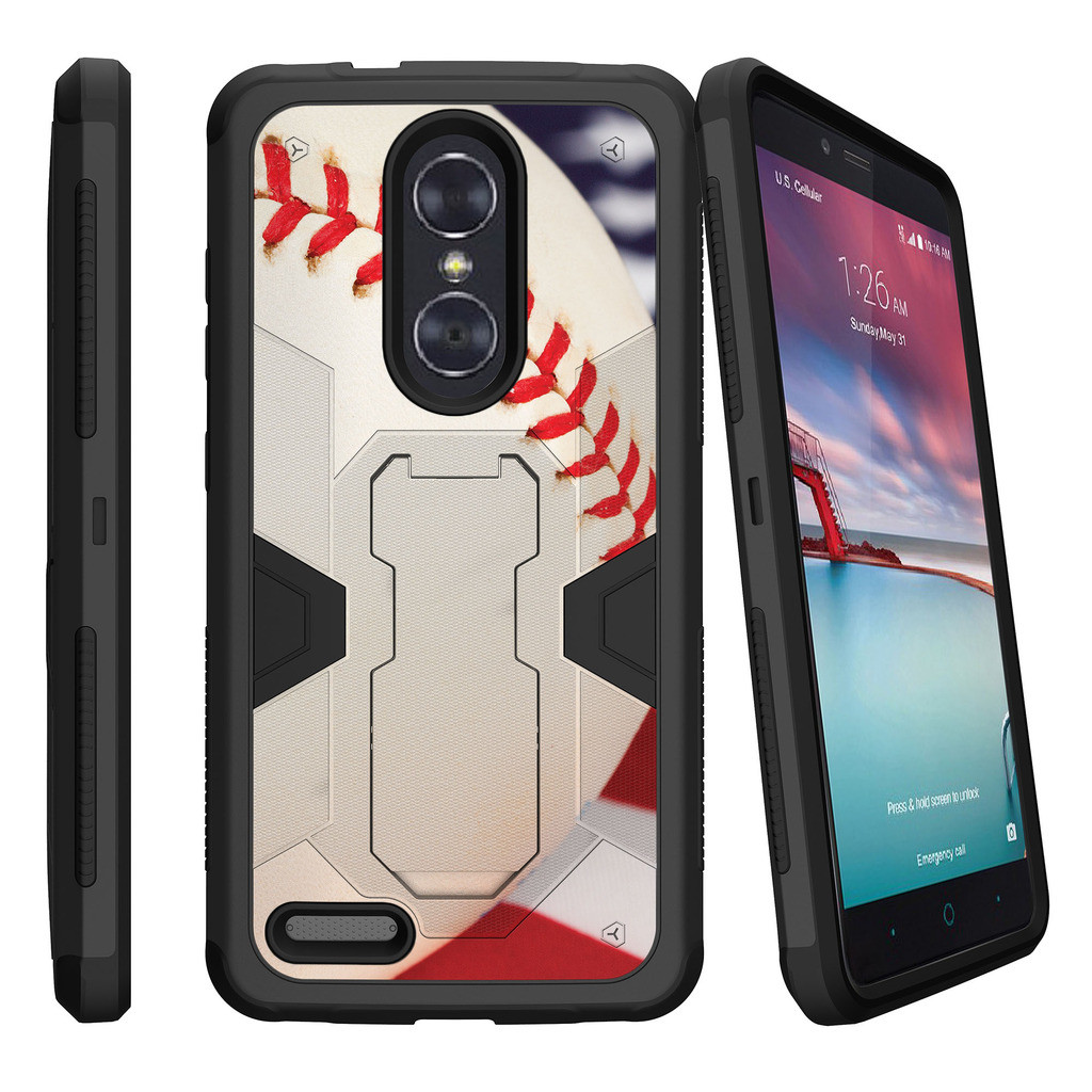 ZTE Zmax Pro Z981 Dual Layer Shock Resistant MAX DEFENSE Heavy Duty Case with Built In Kickstand - Baseball Seams