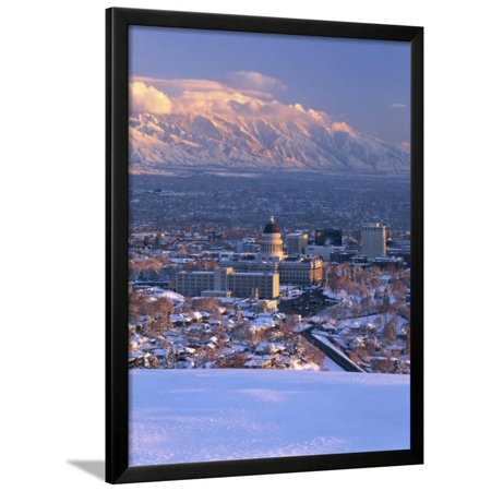Utah State Capitol with the Wasatch Mountains, Salt Lake City, Utah Framed Print Wall Art By Scott T. Smith