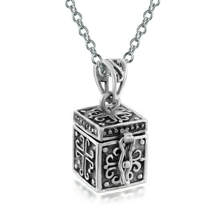 Keepsake Cross Prayer Box Locket Pendant Necklace For Women Oxidized 925 Sterling Silver With Chain
