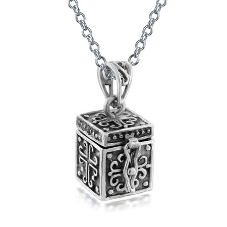 Keepsake Cross Prayer Box Locket Pendant Necklace For Women Oxidized 925 Sterling Silver With Chain (Oxidized Prayer Box)