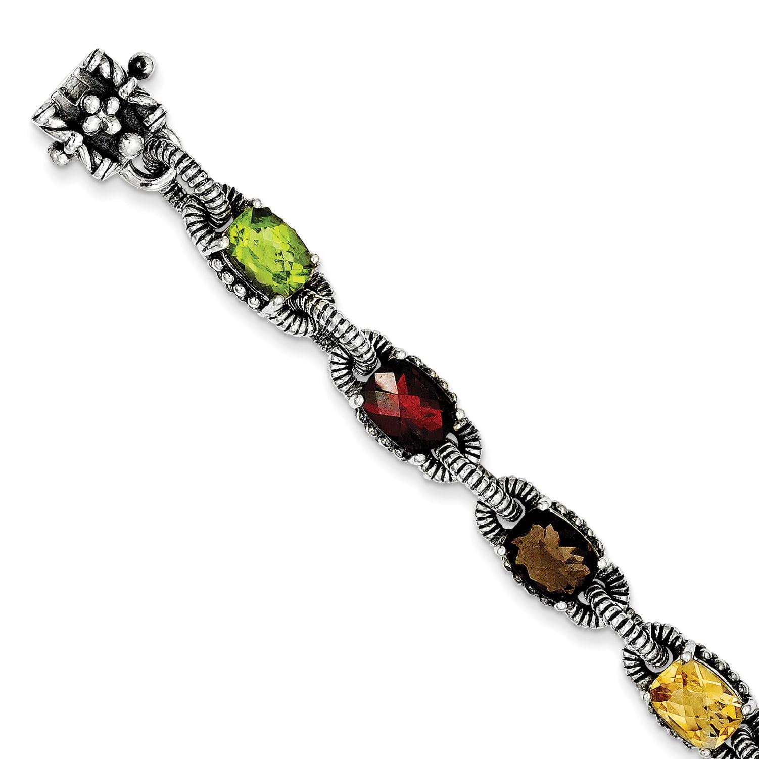 925 Sterling Silver Amethyst Citrine Garnet Peridot Smoky Quartz Bracelet by
