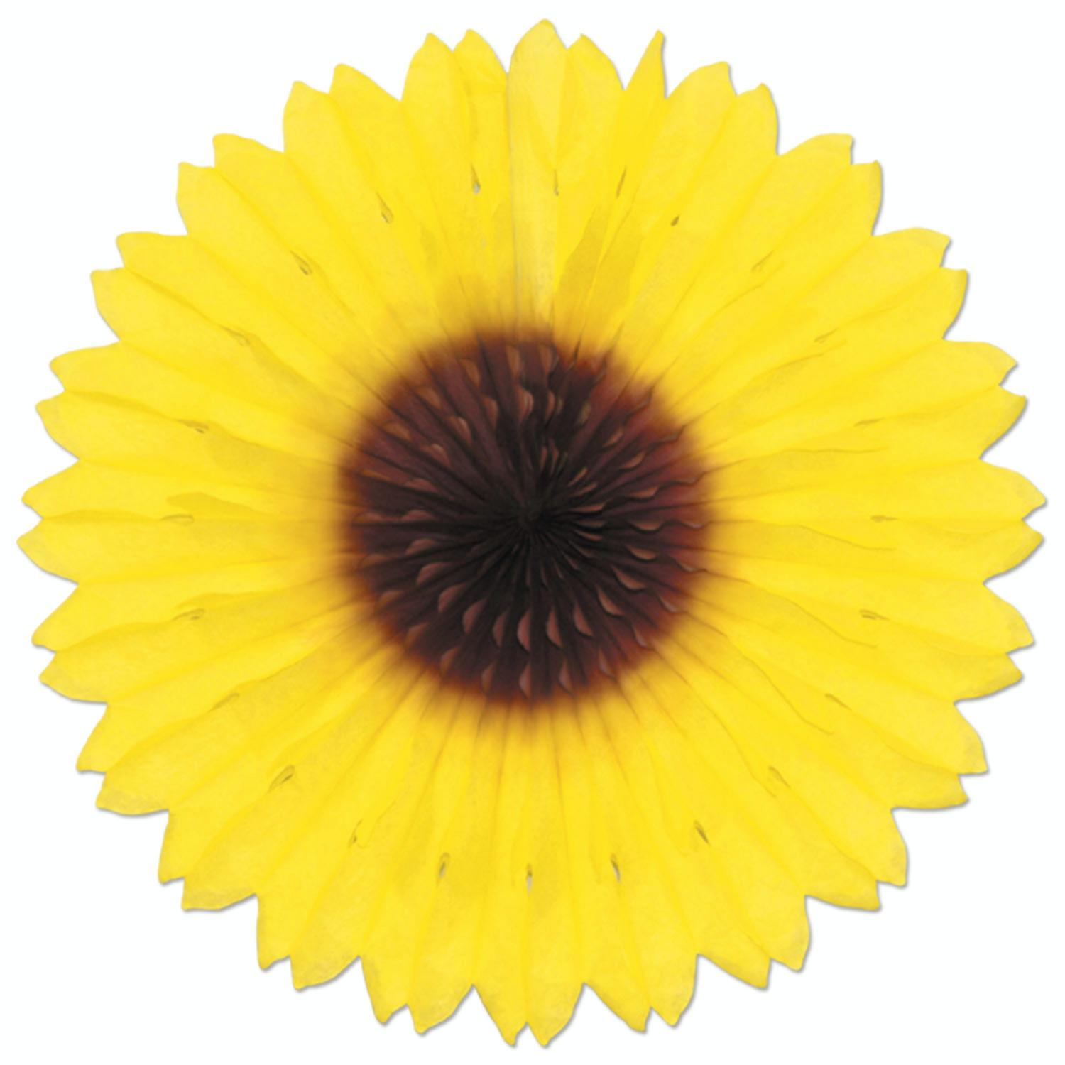 Pack of 12 Colorful Sunflower Hanging Tissue Paper Fan Party Decorations 18""