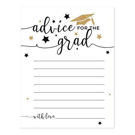 Mommy Advice Cards (White and Gold Glittering Graduation, Advice for the Grad Cards,)