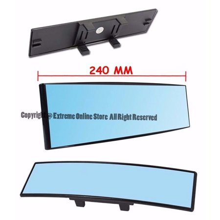 Universal 240MM Wide Angle Convex Curve BLUE TINTED Interior JDM CLIP ON Anti Glare Rear View Mirror Panoramic SUV Truck Car