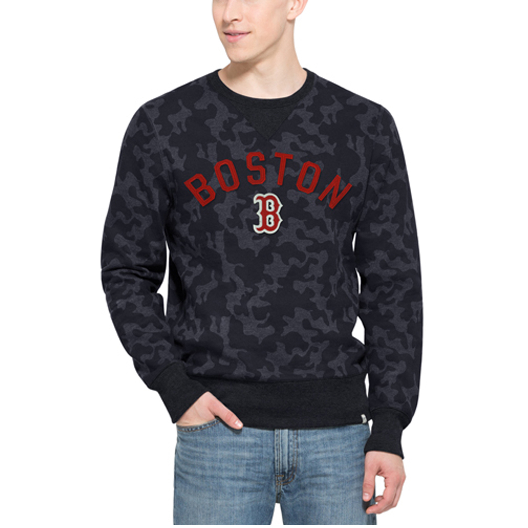 Boston Red Sox '47 Brand Stealth Camo Crew Sweatshirt - Navy