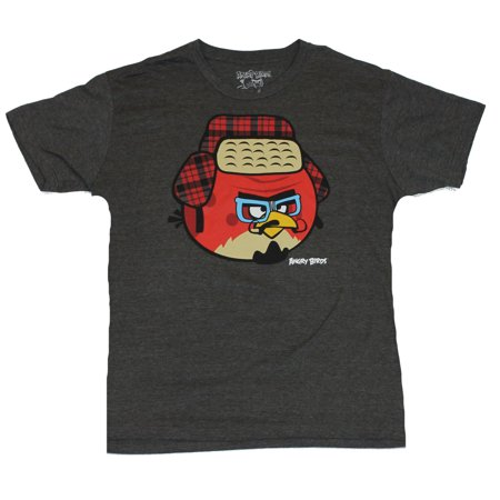 Angry Birds Mens T-Shirt  - Red Bird Winter Disguise Image on Gray - Gra Angry Birds Halloween Boxes