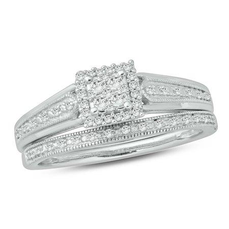 1/5 ct tw round diamond miligrain wedding engagement set in sterling silver. ()