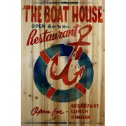 Marmont Hill The Boathouse Restaurant Wood Art Printed On Natural Pine Wood