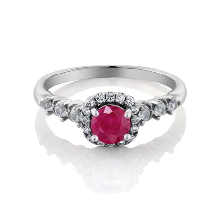 0.98 Ct Round Red Ruby and White Created Sapphire 925 Sterling Silver Ring - image 2 de 3