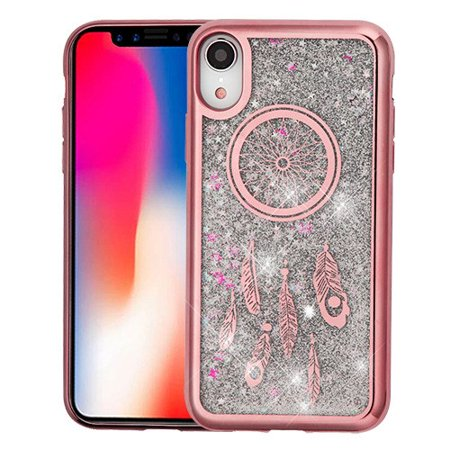 Apple iPhone XR (6.1 Inch) Phone Case BLING Hybrid Liquid Glitter Quicksand Electroplating Rubber Silicone Gel TPU Protector Cover Rose Gold Dreamcatcher Silver Phone Case for Apple iPhone Xr (Liquid Gold And Liquid Silver Plating Kit)