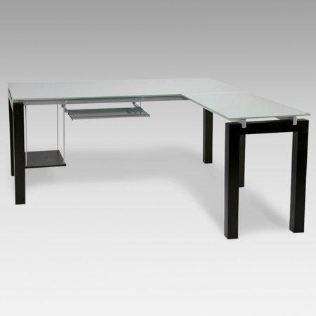 Euro Style Baretta Glass L Shaped Computer Desk With Keyboard Tray