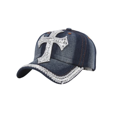 Top Headwear Bling Cross Denim Adjustable Baseball Cap