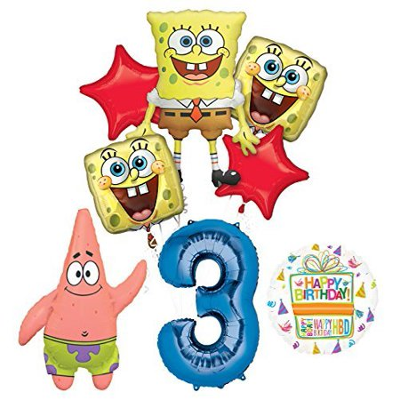 Spongebob Squarepants 3rd Birthday Party Supplies and Balloon Bouquet - Spongebob First Birthday