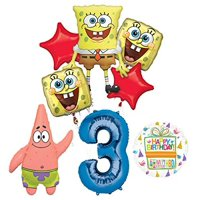 Spongebob Squarepants 3rd Birthday Party Supplies and Balloon Bouquet Decorations