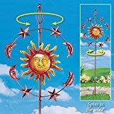 Metal Celestial Sun Garden Wind Spinner by