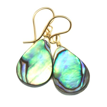 Abalone Earrings Mother of Pearl Paua Shell Peacock Blue Green Dainty Teardrop MOP Drops 14k Gold Filled Spyglass (Green Paua Shell)