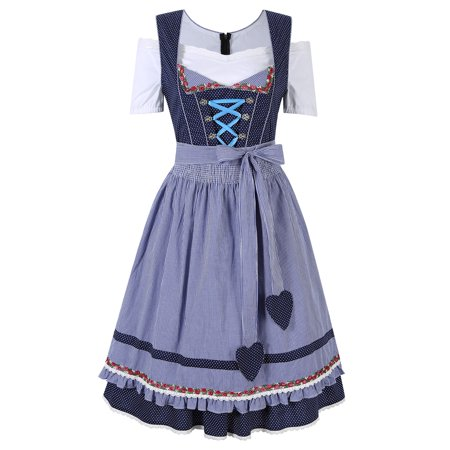 Kojooin Cheer Oktoberfest German Dirndl Fraulein Fancy Dress Costume Party S-2XL for $<!---->