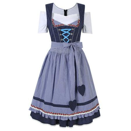 Kojooin Cheer Oktoberfest German Dirndl Fraulein Fancy Dress Costume Party S-2XL (Occupation Fancy Dress)