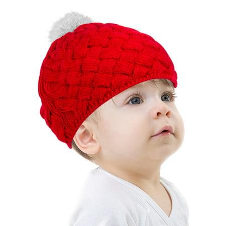 Beanie Hat for Baby by Zodaca Newborn Boys Girls Crochet Warm Winter Stretchy Knit - Red](Tam Hat)