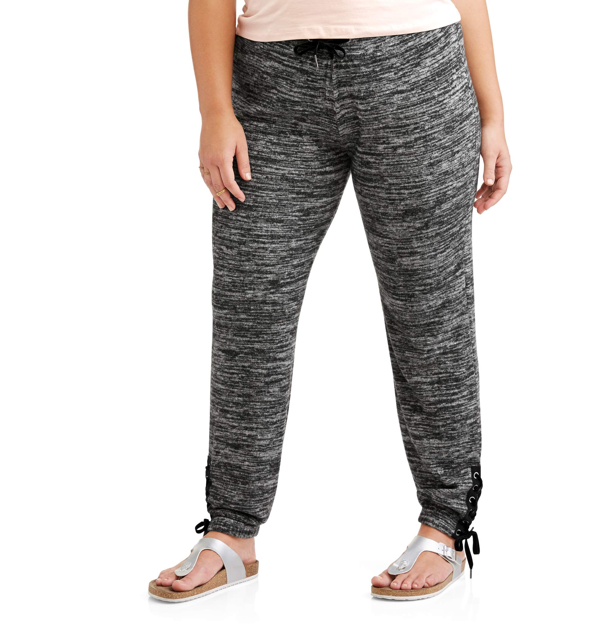 Poof Juniors' Plus Brushed Marl Lounge Jogger With Lace Up Detail