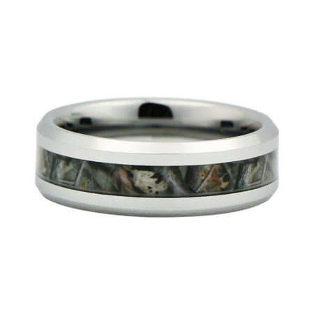 Unisex Camo Hunting Tan/Brown/Green Camouflage 7mm Tungsten Wedding Band Ring