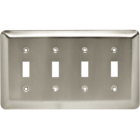 Brainerd Rounded Corner Quad Switch Wall Plate, Available in Multiple Colors