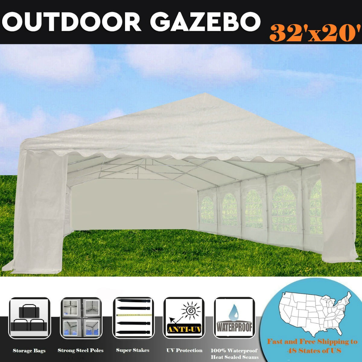 20'x20' PE Waterproof Party Tent Wedding Canopy Shelter White By DELTA Canopies by WPIC