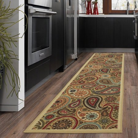 Ottomanson Ottohome Collection Contemporary Paisley Design Modern Non Slip Rubber Backing Area Rugs and Runner, Beige Collection Contemporary Area Rugs