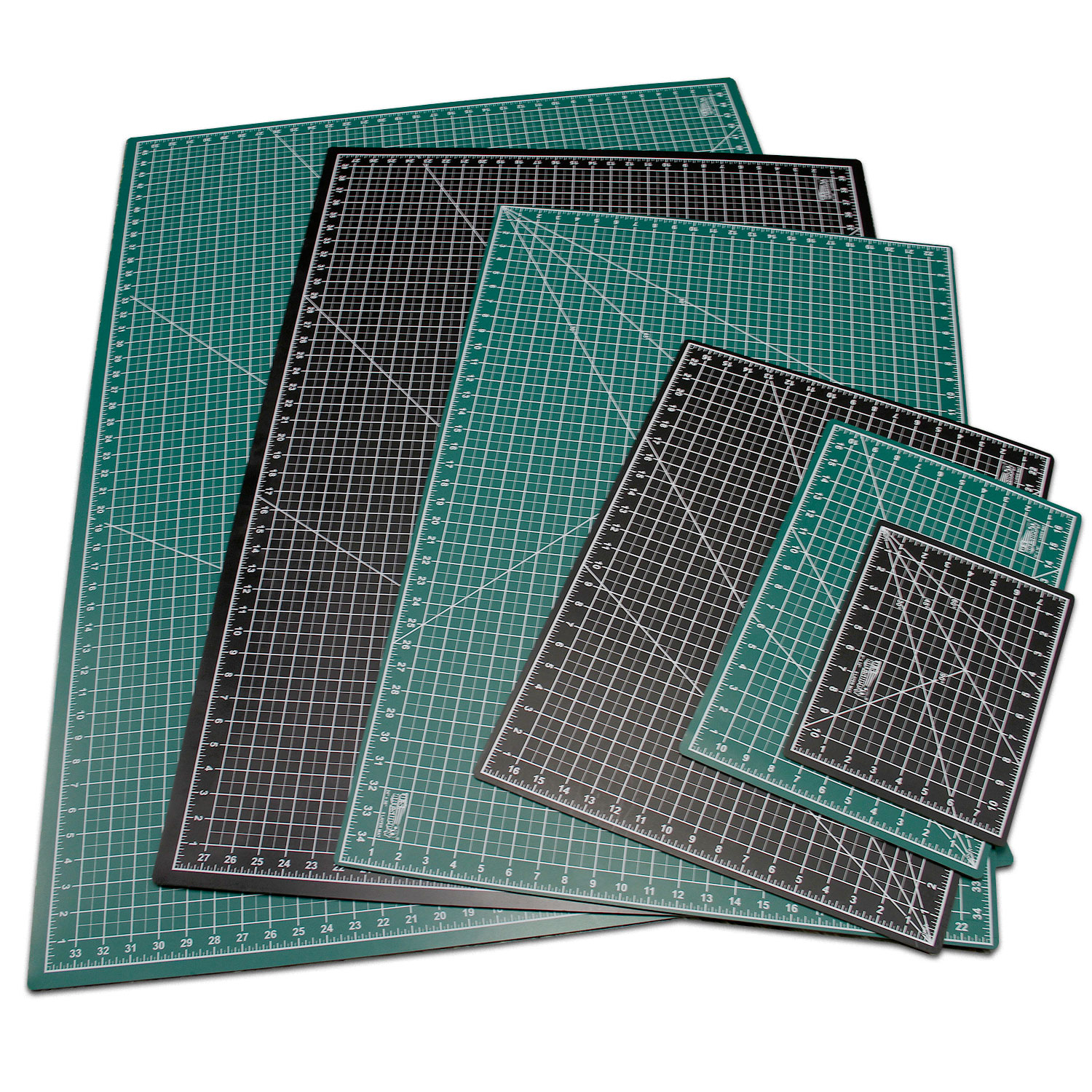 "40"" x 80"" GREEN/BLACK Self Healing 5-Ply Double Sided Durable PVC Cutting Mat"