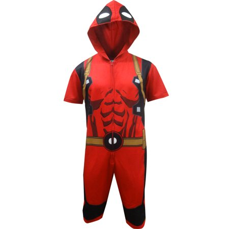 Deadpool Cropped Hooded Union Suit One Piece Pajama](Deadpool Suit For Sale)