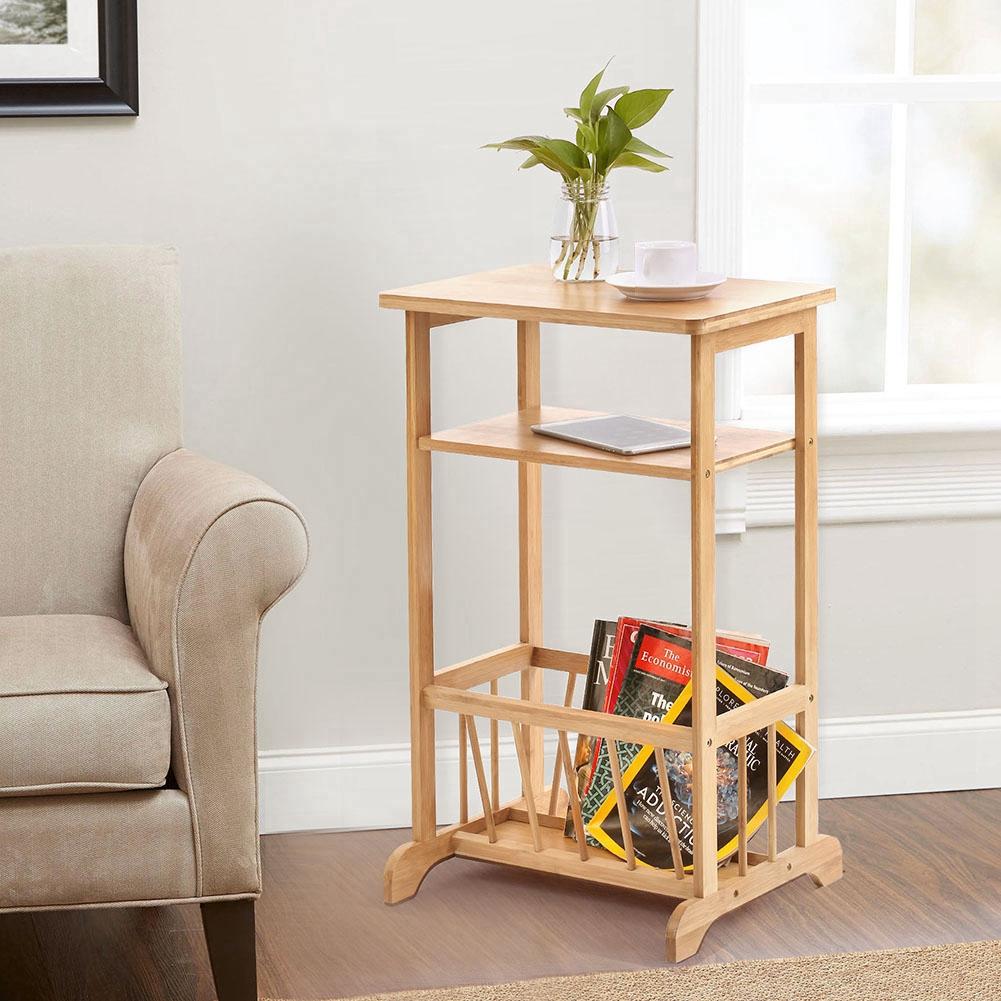 Hurrise 2 Tier Sofa Side Table Bamboo Telephone Coffee