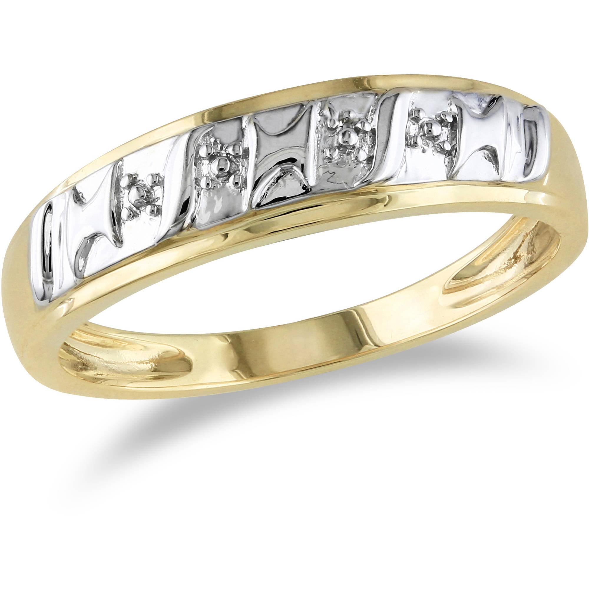 Miabella Men's 10kt Two-Tone Gold Diamond Illusion Wedding Band