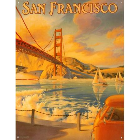 Golden Gate Bridge Tin Sign 13 X 16In     By Desperate Enterprises Inc Ship From Us