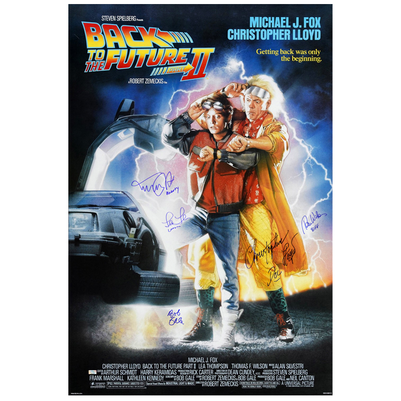 Michael J. Fox, Christopher Lloyd, Thomas Wilson, Lea Thompson and Bob Gale Autographed 27x40 Back to the Future Part II Poster