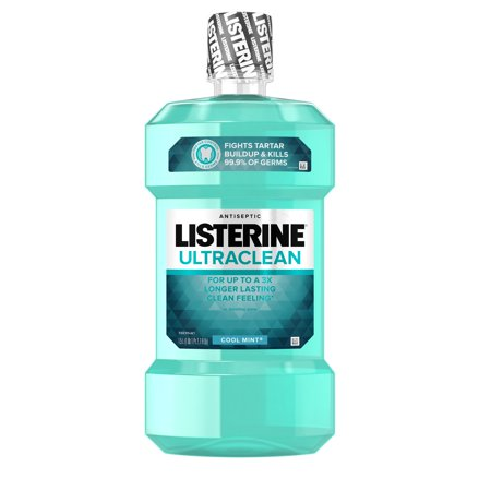Oral Care Mouthwash ((2 pack) Listerine Ultraclean Oral Care Antiseptic Mouthwash, Cool Mint, 1.5l )
