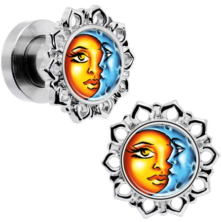 Body Candy Steel Orange Blue Celestial Sun and Moon Flower Frame Screw Fit Plug Set of 2 2 - Orange And Blue Candy