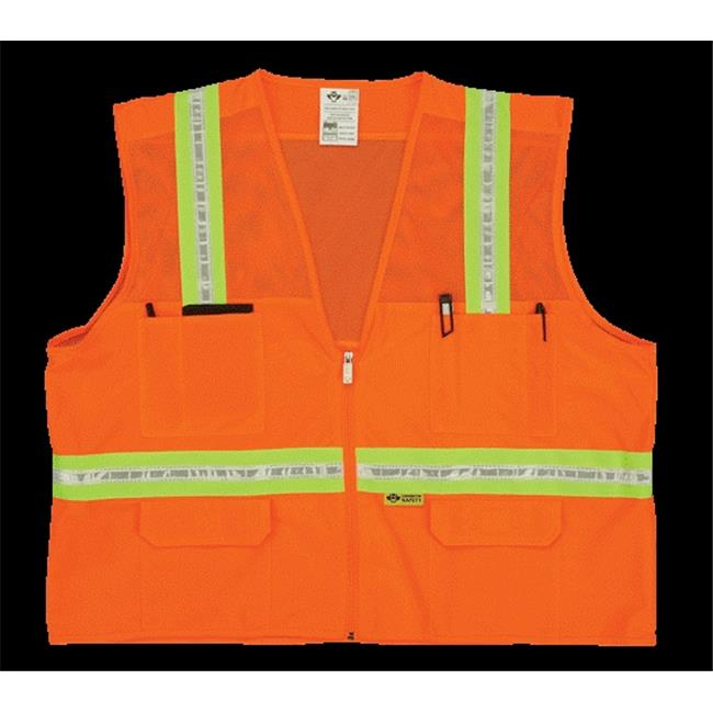 2W 8038-M L Mesh Multi-Pocket Surveyor Vest - Orange, Large