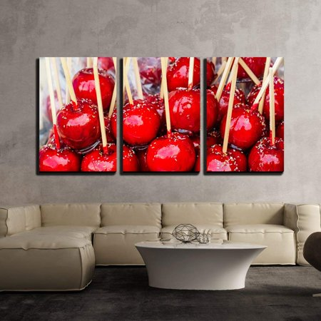 wall26 - 3 Piece Canvas Wall Art - Sweet Glazed Red Toffee Candy Apples on Sticks for Sale on Farmer Market or Country Fair - Modern Home Decor Stretched and Framed Ready to Hang - 24