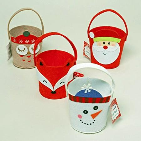 Set of 4 Christmas Characters Mini Felt Pails,Santa, Snowman, Owl, and Fox