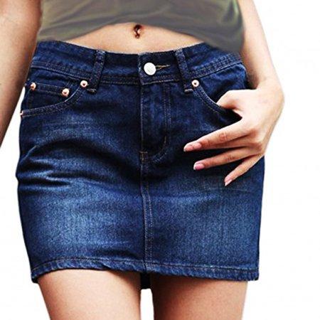 (SkylineWears Womens A-line Casual Fashion Stitching Short Slim Fit Denim Skirt Light Blue Small)